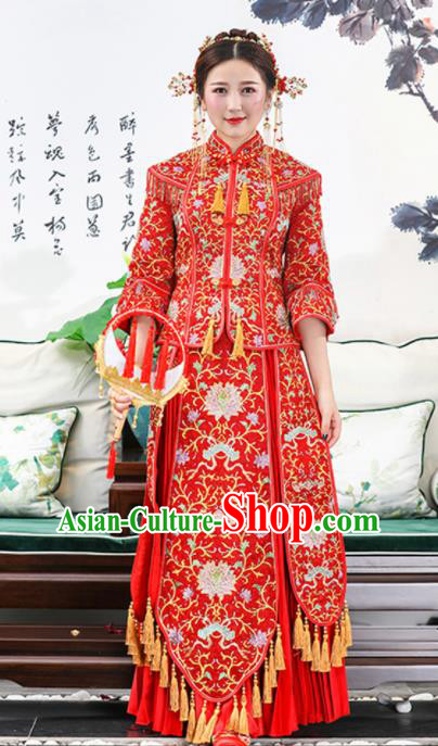 Chinese Traditional Bride Red Embroidered Lotus Xiuhe Suits Ancient Handmade Wedding Dresses for Women