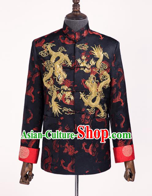 Chinese Traditional Wedding Black Shirt Ancient Bridegroom Embroidered Dragons Costumes for Men