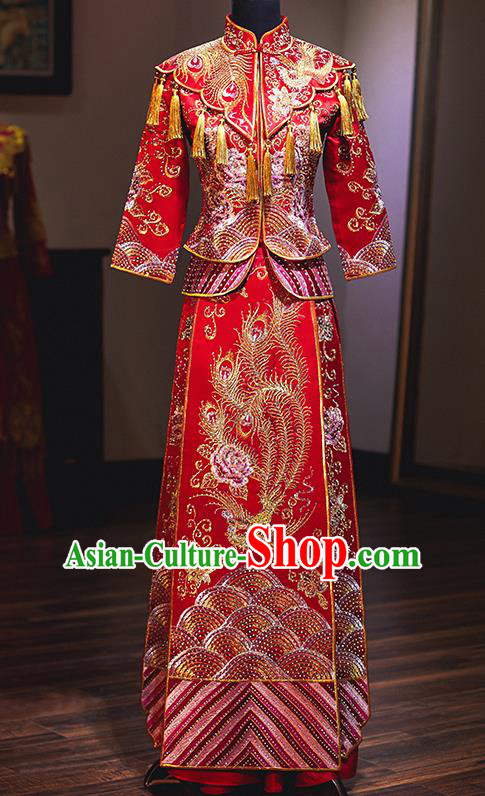 Chinese Traditional Embroidered Phoenix Cheongsam Ancient Bride Handmade Xiuhe Suits Wedding Dress for Women
