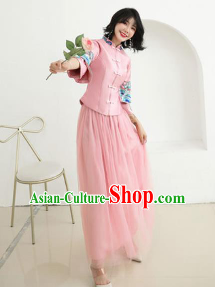 Chinese Traditional Embroidered Wedding Dress Cheongsam Ancient Bride Handmade Pink Xiuhe Suits Costumes for Women