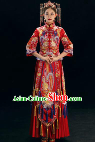 Chinese Traditional Wedding Dress Embroidered Phoenix Cheongsam Ancient Bride Xiuhe Suits Costumes for Women
