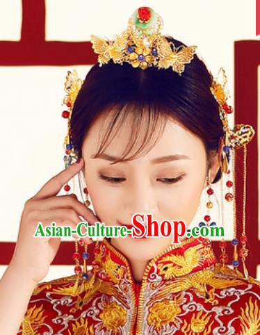 Chinese Traditional Wedding Hair Accessories Ancient Bride Hair Combs Hairpins Headdress for Women