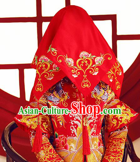 Chinese Traditional Wedding Hair Accessories Ancient Bride Embroidered Peony Red Cover Headdress for Women