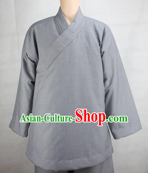 Chinese Traditional Buddhist Monk Clothing Grey Cotton Padded Jacket Buddhism Monks Costumes for Men