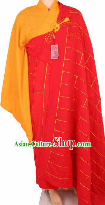 Chinese Traditional Buddhist Monk Clothing Red Cassock Buddhism Monks Costumes for Men