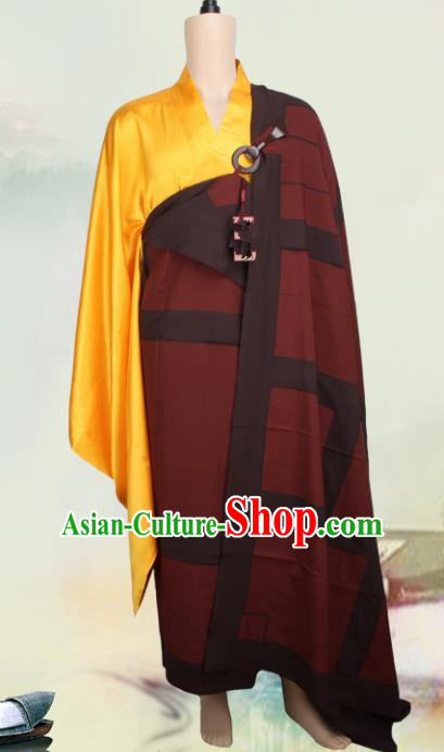 Chinese Traditional Buddhist Monk Clothing Buddhism Monks Dark Red Cassock Costumes for Men