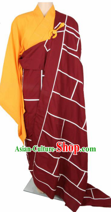 Chinese Traditional Buddhist Monk Red Costumes Buddhism Monks Cassock for Men