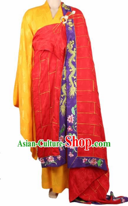 Chinese Traditional Buddhist Monk Costumes Buddhism Monks Red Silk Cassock for Men