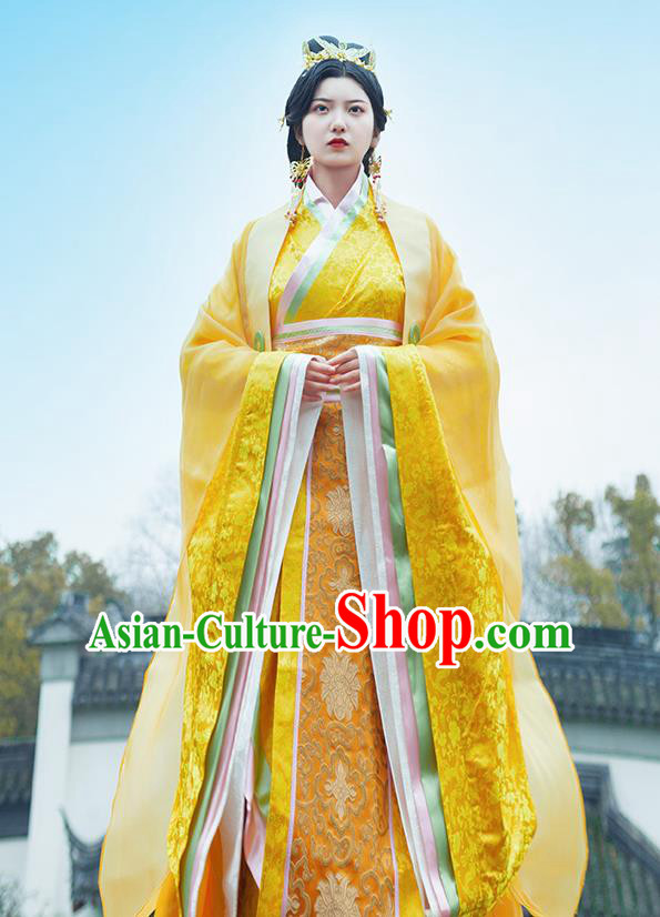 Traditional Chinese Ancient Empress Costumes Qin Dynasty Drama Queen Golden Hanfu Dress for Women