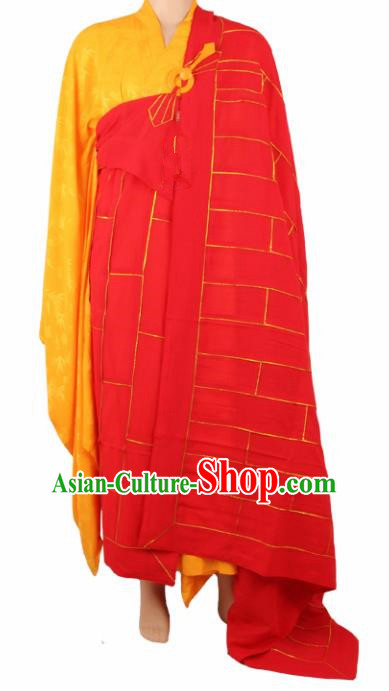 Chinese Traditional Buddhist Red Cassock Monk Costumes Buddhism Dharma Assembly Monks Clothing for Men