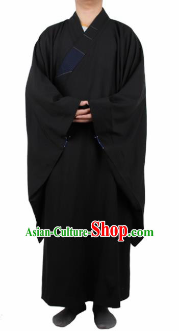 Chinese Traditional Buddhist Monk Black Robe Buddhism Dharma Assembly Monks Costumes for Men