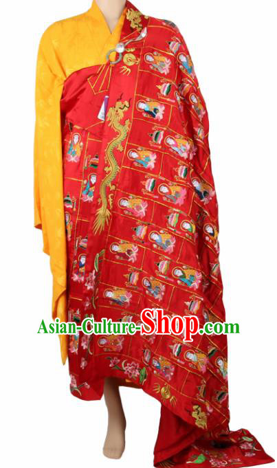 Chinese Traditional Buddhist Embroidered Buddha Red Cassock Buddhism Dharma Assembly Monks Costumes for Men