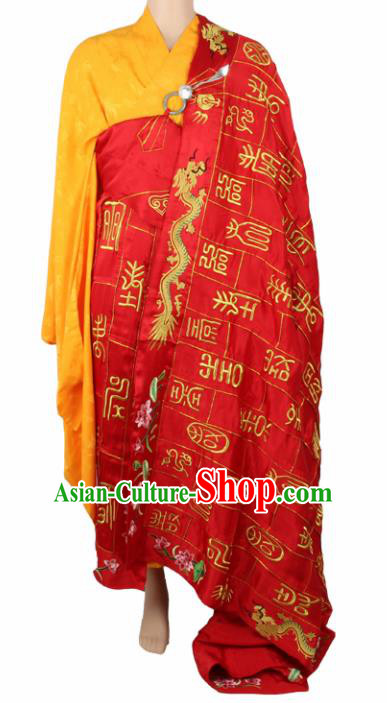Chinese Traditional Buddhist Embroidered Dragon Red Cassock Buddhism Dharma Assembly Monks Costumes for Men