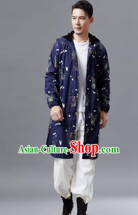 Chinese Traditional Costume Tang Suits Outer Garment National Mandarin Navy Coat for Men