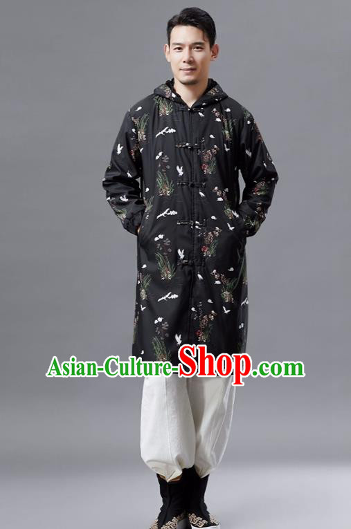 Chinese Traditional Costume Tang Suits Outer Garment National Mandarin Black Coat for Men