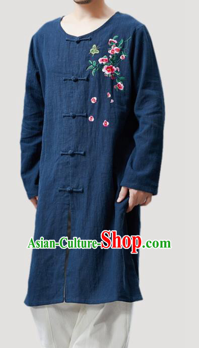 Chinese Traditional Costume Tang Suit Navy Coat National Mandarin Gown Outer Garment for Men