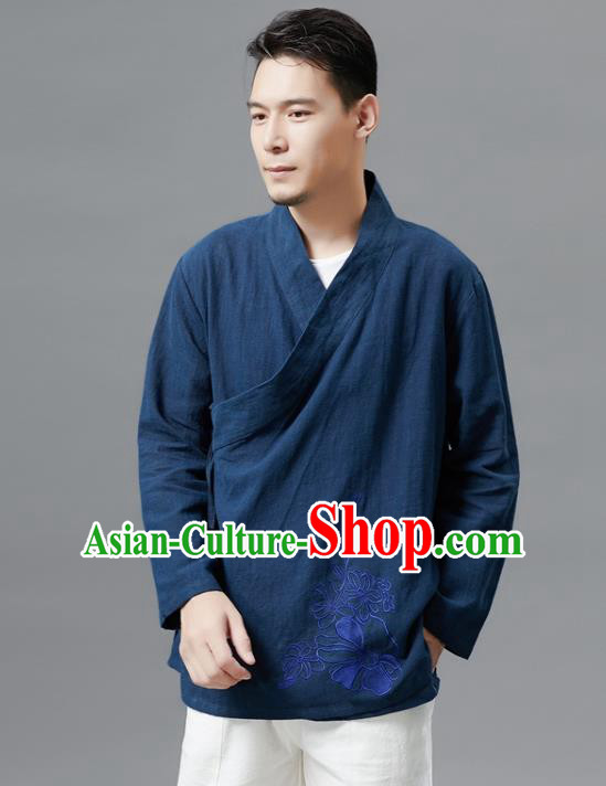 Chinese Traditional Costume Tang Suit Navy Shirts National Mandarin Outer Garment for Men