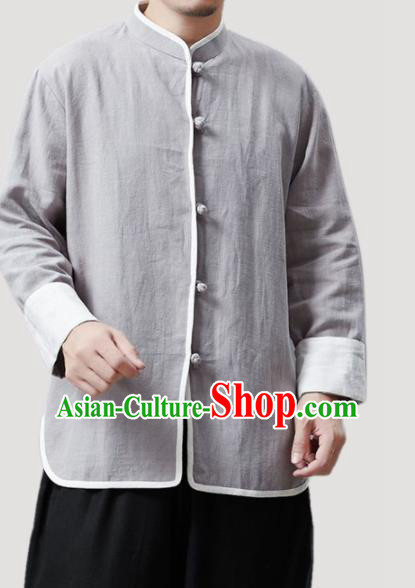 Chinese Traditional Costume Tang Suit Grey Shirts National Mandarin Outer Garment for Men