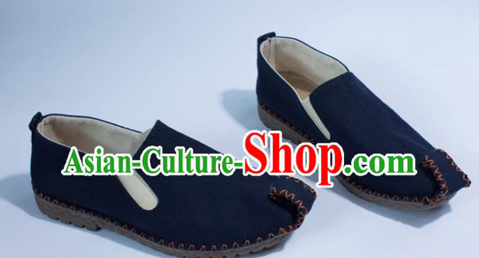 Chinese Traditional Martial Arts Shoes Kung Fu Shoes Navy Linen Monk Shoes for Men