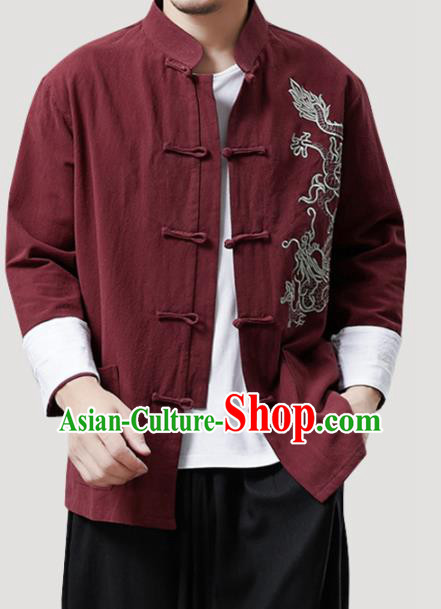 Chinese Traditional Costume Tang Suit Red Linen Shirts National Mandarin Outer Garment for Men
