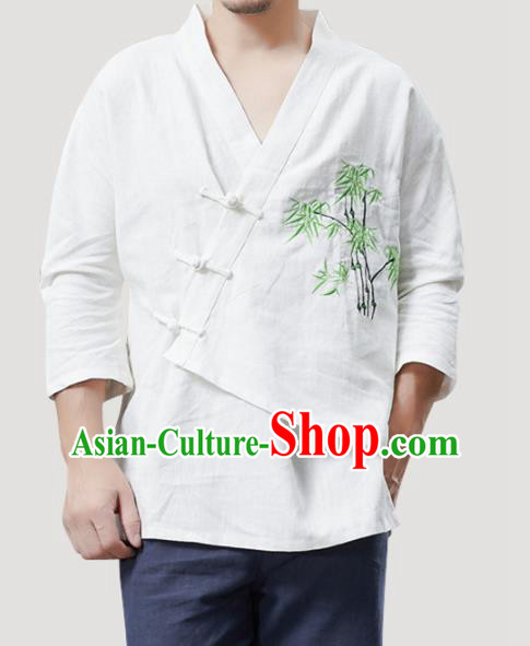 Chinese Traditional Costume Tang Suit Embroidered Bamboo White Shirts National Mandarin Outer Garment for Men