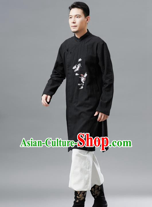 Chinese Traditional Costume Tang Suit Black Gown National Mandarin Outer Garment for Men