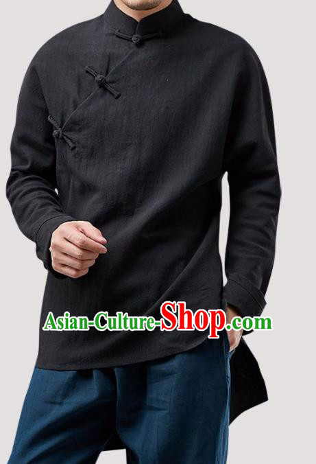 Chinese Traditional Costume Tang Suit Black Shirt National Mandarin Upper Outer Garment for Men