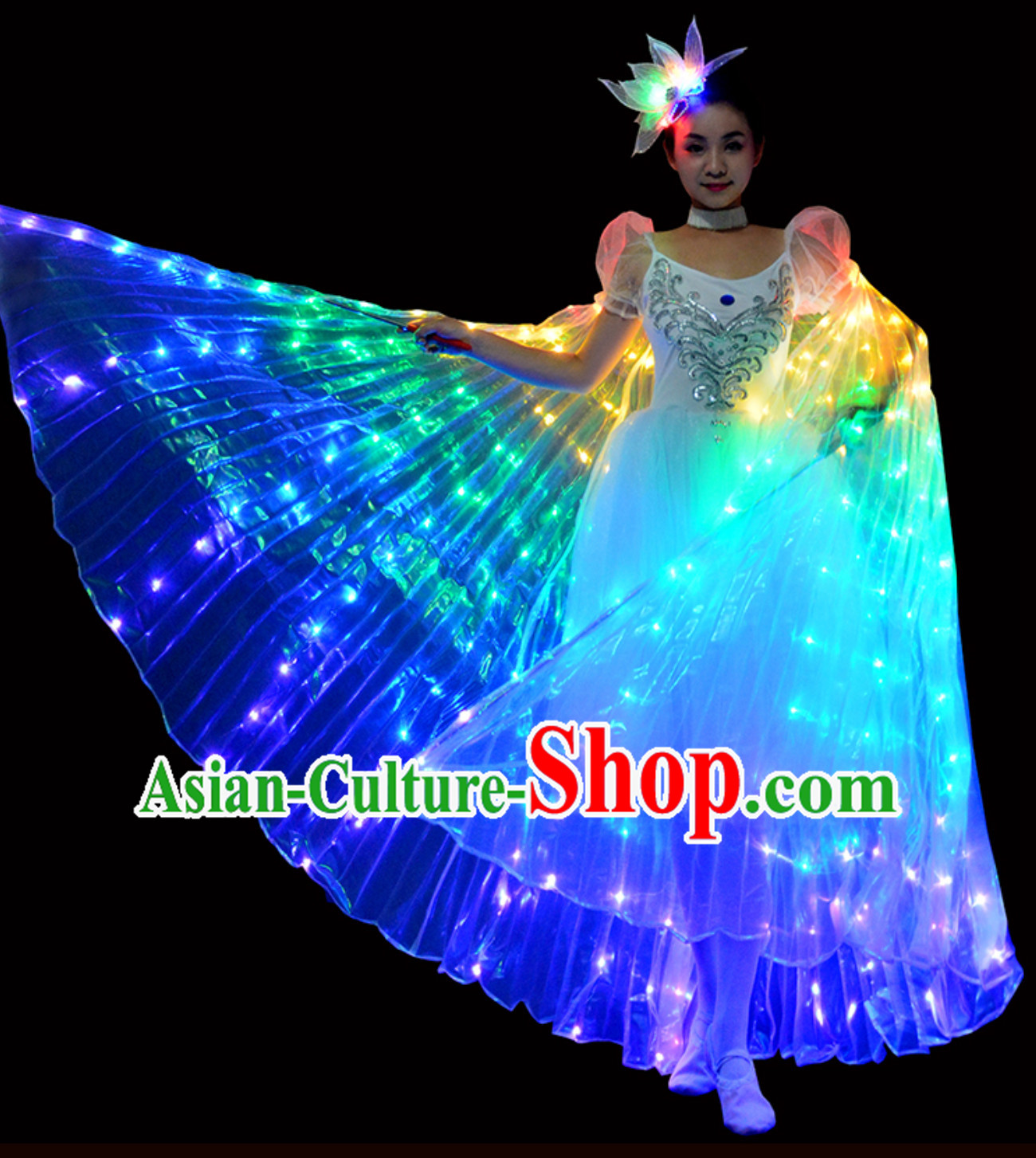 LED Lights Luminous Giant Wings Butterfly Dance Costumes and Head Wear Complete Set