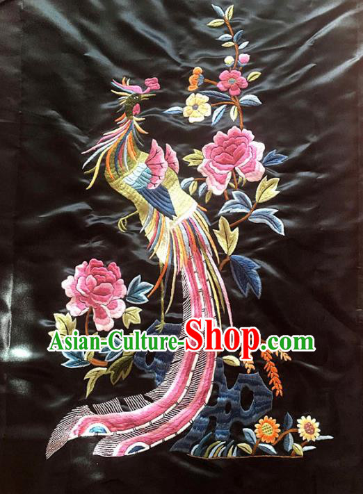 Chinese Traditional Embroidery Craft Embroidered Phoenix Peony Patches Handmade Embroidering Accessories