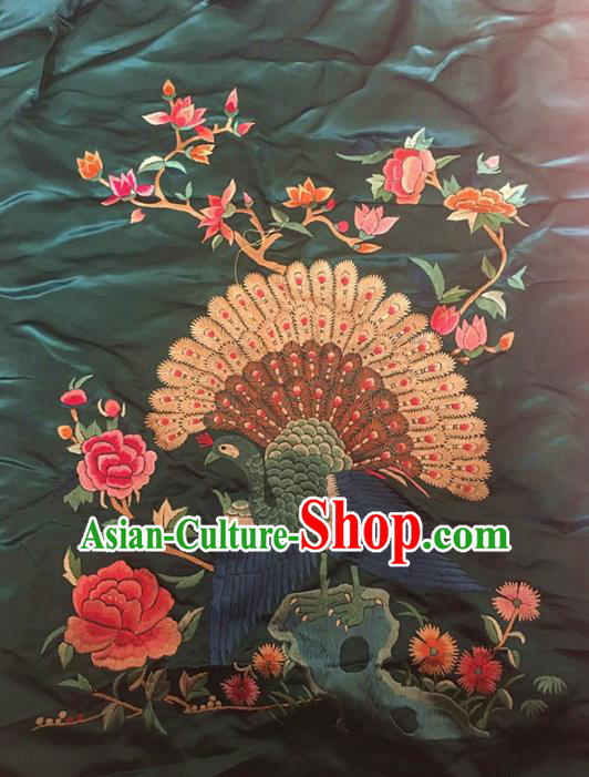 Chinese Traditional Embroidery Craft Embroidered Peacock Peony Patches Handmade Embroidering Accessories