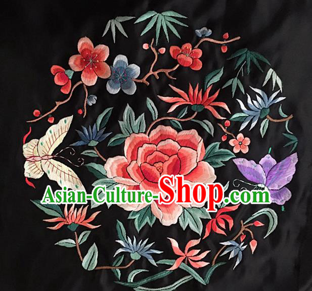 Chinese Traditional Embroidery Craft Embroidered Red Peony Butterfly Silk Patches Handmade Embroidering Accessories