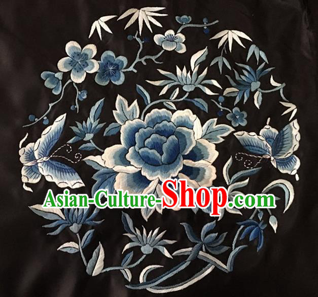 Chinese Traditional Embroidery Craft Embroidered Blue Peony Butterfly Silk Patches Handmade Embroidering Accessories