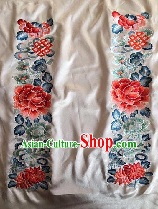 Chinese Traditional Embroidery Craft Embroidered Peony Lotus Silk Patches Handmade Embroidering Accessories