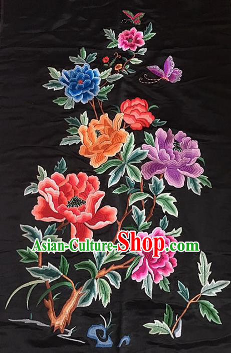 Chinese Traditional Embroidery Craft Embroidered Peony Silk Patches Handmade Embroidering Accessories