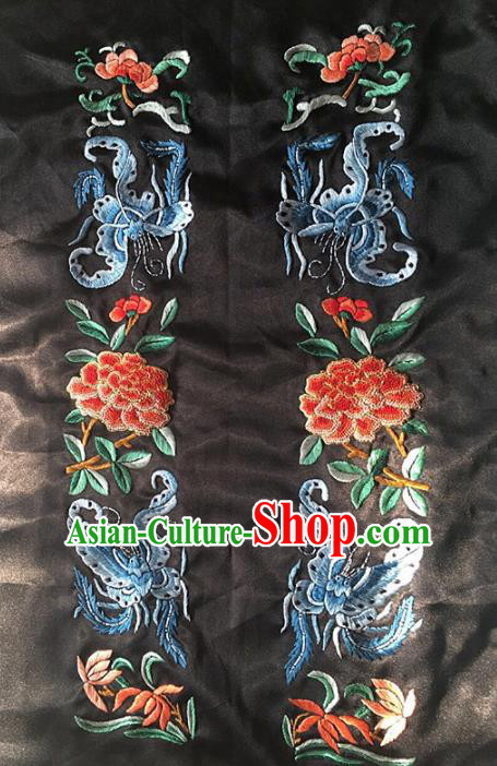 Chinese Traditional Embroidery Craft Embroidered Butterfly Peony Silk Patches Handmade Embroidering Accessories
