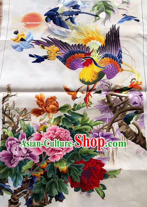 Chinese Traditional Embroidery Craft Embroidered Peony Phoenix Silk Patches Handmade Embroidering Accessories