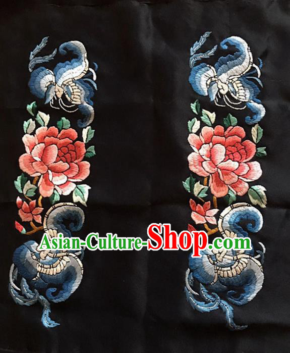 Chinese Traditional Handmade Embroidery Craft Embroidered Butterfly Peony Silk Patches Embroidering Accessories