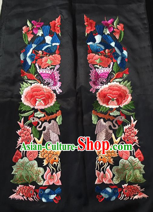 Chinese Traditional Handmade Embroidery Craft Embroidered Peony Fishes Lotus Silk Patches Embroidering Accessories
