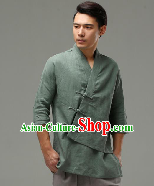 Chinese Traditional Costume Tang Suit Green Shirt National Mandarin Upper Outer Garment for Men