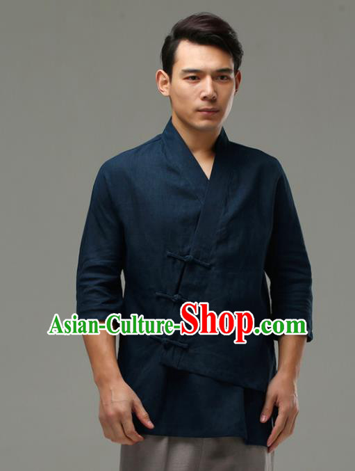 Chinese Traditional Costume Tang Suit Navy Shirt National Mandarin Upper Outer Garment for Men