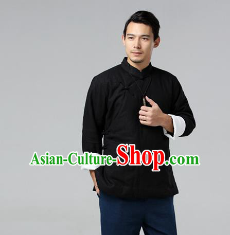 Chinese Traditional Costume Tang Suit Black Jacket National Mandarin Upper Outer Garment for Men