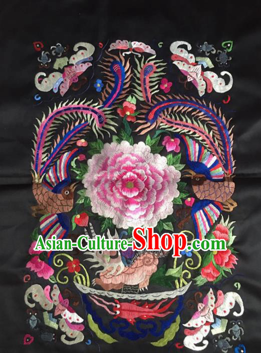 Chinese Traditional Handmade Embroidery Craft Embroidered Peony Patches Embroidering Silk Piece