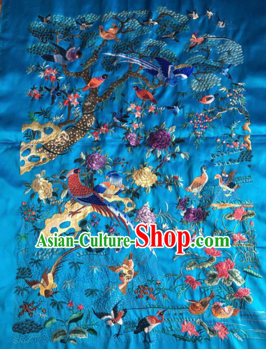 Chinese Traditional Handmade Embroidery Craft Embroidered Peony Blue Patches Embroidering Silk Piece