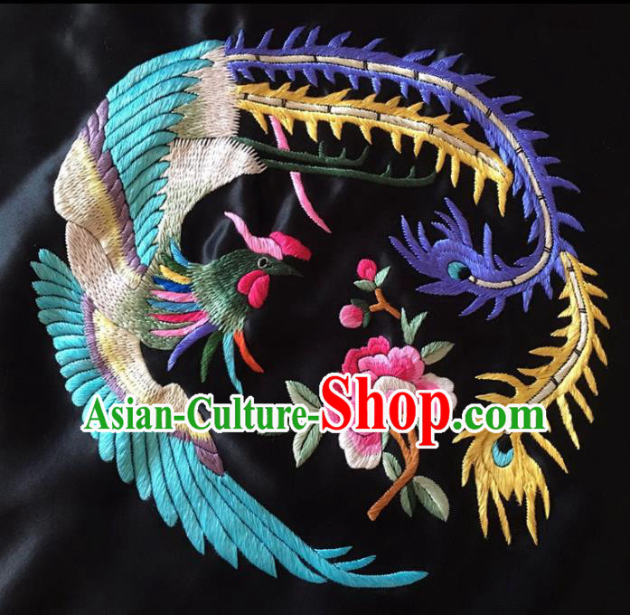 Chinese Traditional Handmade Embroidery Craft Embroidered Peony Phoenix Cloth Patches Embroidering Silk Piece