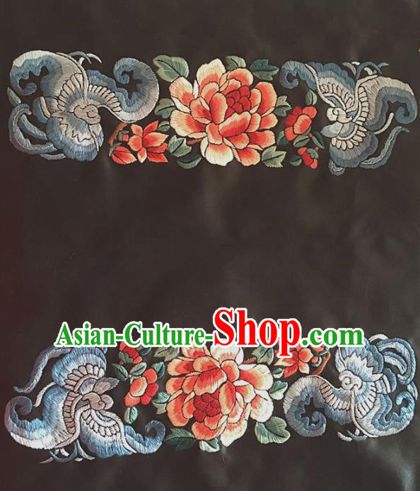 Chinese Traditional Handmade Embroidery Craft Embroidered Peony Butterfly Cloth Patches Embroidering Silk Piece