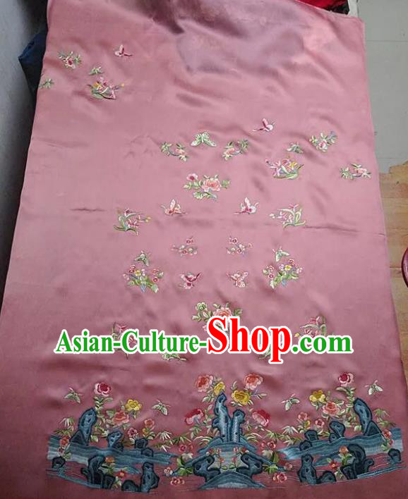 Chinese Traditional Handmade Embroidery Craft Embroidered Butterfly Peony Cloth Patches Embroidering Pink Silk Piece