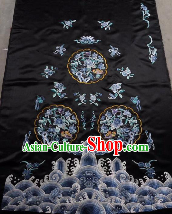 Chinese Traditional Handmade Embroidery Craft Embroidered Peony Cloth Patches Embroidering Black Silk Piece