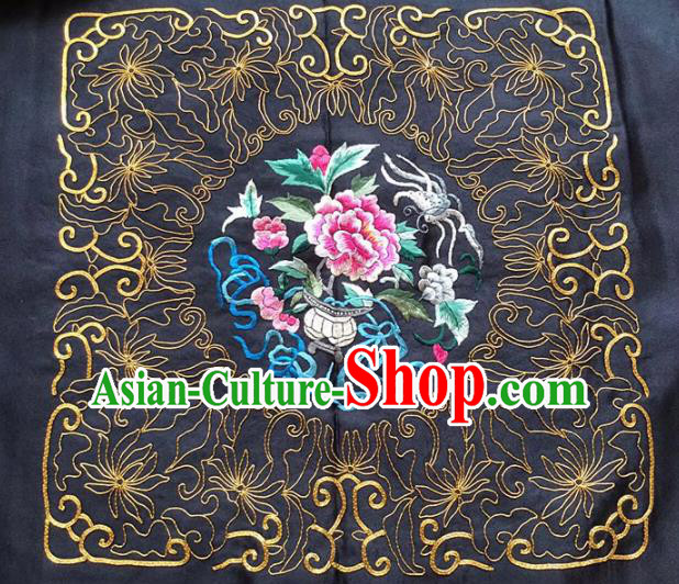 Chinese Traditional Handmade Embroidery Craft Embroidered Cloth Patches Embroidering Peony Silk Piece