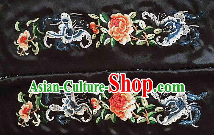 Chinese Traditional Handmade Embroidery Craft Embroidered Cloth Patches Embroidering Butterfly Peony Silk Piece