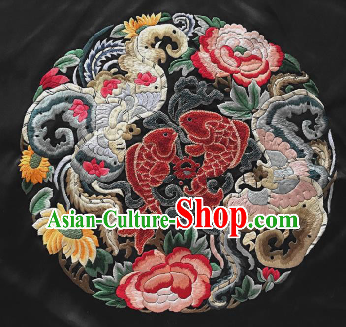 Chinese Traditional Embroidered Fishes Peony Silk Patches Handmade Embroidery Craft